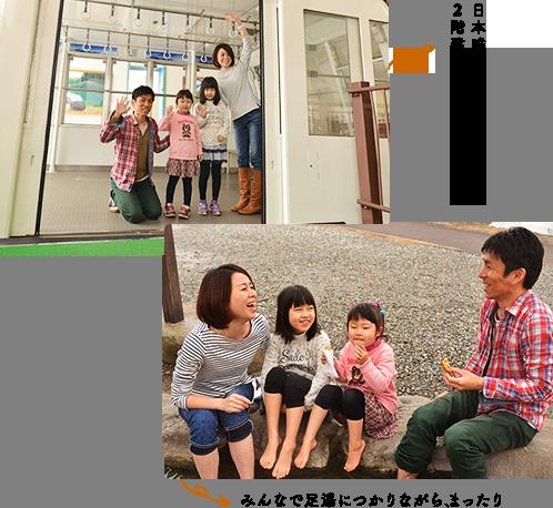 日本唯一の2階建てゴンドラで出発♪ みんなで足湯につかりながら、まったり