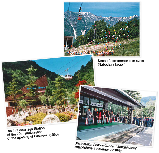 State (Nabedaira Kogen Heights) Shin-Hotaka Onsen Station (1990) of photograph memory event [bottom] Shinhotaka visitor center Sangakukan establishment type of the 20th anniversary of the opening (1998)