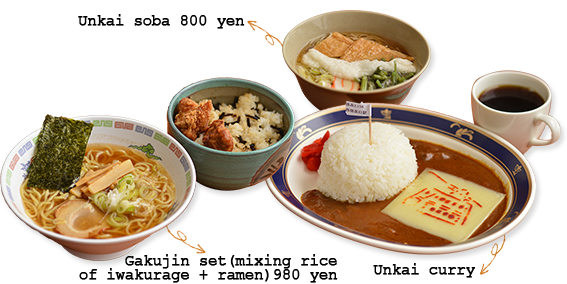 Unkai side, udon, curry, Gakujin set