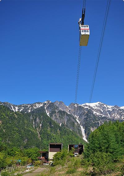 笠ヶ岳をバックにゴンドラが上昇