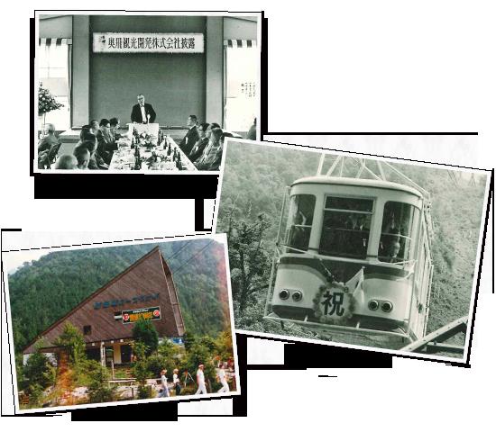 照片奧飛觀光開發株式會社成立宣布會(1962年)中央土川元夫第一代總經理(名鐵總經理)開業當天的纜車(第2高空纜車)[下邊]開業10周年紀念(1980年)