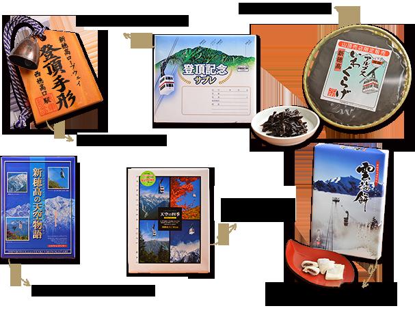 登頂票據430日圆、登頂紀念酥餅540日圆、iwakurage 650日圆、空中故事(大)1,080日圆、空中四季(大)1,080日圆、雲海餅小700日圆大小1,080日圆